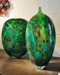 Green tahiti vases  Peter Layton