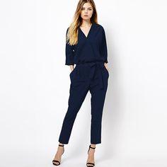 abc46903f011 Online Shop RICHCOCO New Fashionable Women s Jumpsuits Casual V Collar Deep  Blue Color Waist Lace Chiffon Sleeve female Playsuits D310
