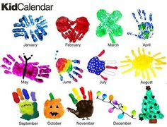 hand print for each month in the year - could make a calendar