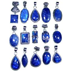Sterling Silver Jewelry Pendants wholesale Lot With Blue Color Rainbow Gemstones, Indian silver jewellery, vintage pendents   $285.00
