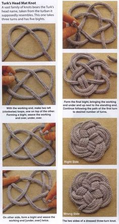 These coasters and trivets are a great way to put those bits and pieces to good use. Macrame Design, Macrame Art, Macrame Projects, Macrame Knots, Rope Crafts, Diy Home Crafts, Yarn Crafts, Arts And Crafts, Rope Art