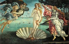 Sandro Botticelli (Italian, Florentine, Early Renaissance, 1445-1510): The Birth of Venus (La nascita di Venere), c. 1485-86.Tempera on canvas, Uffizi Gallery (Galleria degli Uffizi), Florence, Italy.