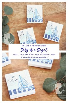 Nellis Stempeleien: Gummibärchengoodies mit dem Stempelset Setz die Segel von Stampin' Up! Creative, Stampin Up, Nautical, Sailing, Catalog, Place Cards, Place Card Holders, Sailing Ships, Gift Cards