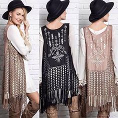 Free People Fringe Knit Hooded Long Sleeveless Cardigan Sweater ...