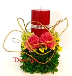 An artificial flower with fresh greenery design for Valentine's Day. Design by Demi Wu