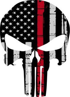 Punisher Skull American Flag Firefighter Red Line Decal Sticker Graphic USA Yeti Tumbler Punisher Skull American Flag, American Logo, Thin Red Line Flag, Hd Design, Skull Stencil, Stick Wall Art, Cornhole Wraps, Gothic Fantasy Art, Military Tattoos