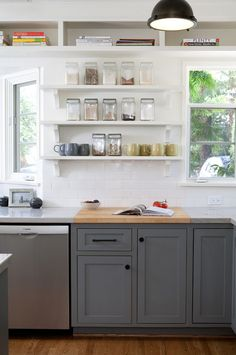Kitchen Cabine. Kitchen Cabinet and open shelves ideas. Lower kitchen cabinets and upper open shelves. Kitchen. #KitchenOpenShelvesJessica Risko Smith Interior Design.