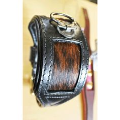 Black Leather with Cow Hair Inlay Sighthound Dog Collar