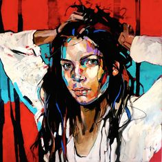 Anna Bocek, Red Forest, 150 x 150 cm, oil on canvas, 2018 – Gülgün Aydoğar – Join the world of pin Potrait Painting, Abstract Portrait, Portrait Art, Portraits, Human Painting, Figure Painting, Painting & Drawing, Watercolor Artists, Face Art
