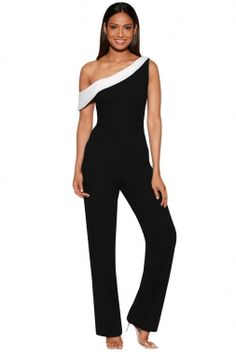 "Slim Fit Her Fashion Black""n""White Colorblock One-shoulder Jumpsuit Rompers Women, Jumpsuits For Women, Fashion Jumpsuits, White Outfits For Women, Clothes For Women, Black N White, Black Tops, One Shoulder Jumpsuit, Jumpers For Women"