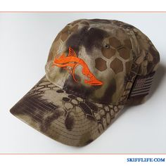 http://www.skifflife.com/files/2013/07/Orange-Left.jpg - Snook Design Hats in Kryptek & Football - http://www.skifflife.com/318489/snook-design-hats-in-kryptek-football/ - The popular Ambush Snook design is HERE in a TON of different colors and style hats! Custom embroidered on a quality hats including the popular tactical Kryptek line of camo hats, these low profile hats feature an our intricate Snook design with super high quality embroidery that really is u...