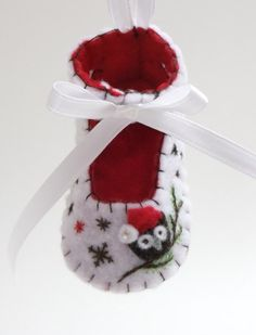 Baby's First Christmas Felt Shoe Ornament by BananaBugAndZod