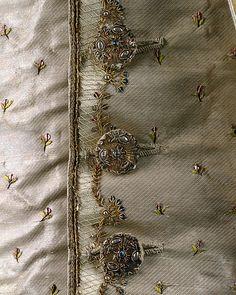 Gentleman's Ensemble - detail of waistcoat buttons.  Date: ca. 1765  French  Medium: silk, metal  Stunning!
