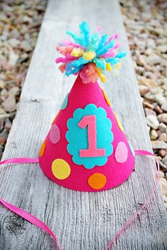 Girls Felt Polka-dot Party Hat - Birthday Number Party Hat