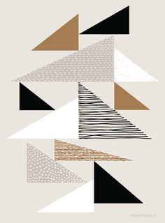 Tapestry Triangles Natural open edition giclee by EloiseRenouf