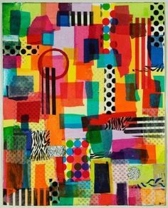 Collage: layer 1--bright paints, layer 2--printed and plain tissue papers, layer3--additional shapes.