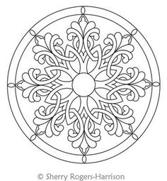 Digital Quilting Design Celtic Snowflake Medallion with Circles by Sherry Rogers… Digital Quilting Design Celtic Schneeflocken-Medaillon mit Kreisen von Sherry Rogers-Harrison. Mandala Tattoo Design, Mandala Drawing, Celtic Patterns, Celtic Designs, Islamic Art Pattern, Pattern Art, Mandala Coloring Pages, Colouring Pages, Pottery Painting