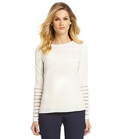 Antonio Melani Lexy Perforated Silk Blouse | Dillard's Mobile