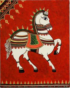 Royal Horse Art Print by Bindu Viswanathan. All prints are professionally printed, packaged, and shipped within 3 - 4 business days. Choose from multiple sizes and hundreds of frame and mat options. Pichwai Paintings, Indian Art Paintings, Mural Painting, Mural Art, Fabric Painting, Kalamkari Painting, Madhubani Painting, Zentangle, Indian Traditional Paintings