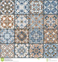 Foto acerca Una colección de baldosas cerámicas en colores retros Un sistema de modelos cuadrados en estilo étnico Ilustración del vector - 92808546