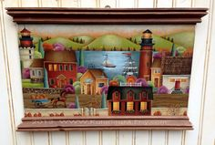 Hand Painted Wood Plaque Autumn Harbor Lighthouses $125.00