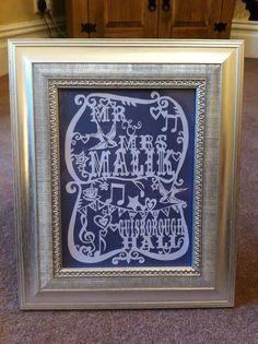 Wedding paper cutting Guisborough Hall, £30 framed