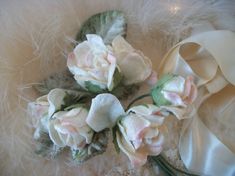 Vintage Millinery Flowers Light Straw Color Woven Wire Stems French
