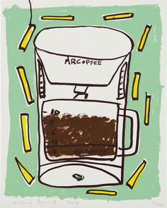Available for sale from Phillips, Katherine Bernhardt, Mr. Coffee with Fries (2015), Screenprint in colors, on Coventry Rag paper, the full sheet, 68.6 × 5…