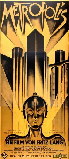 Metropolis Fritz Lang (1997-2003) - large lithograph recreation of the cult classic German movie poster by Heinz Schulz Neudamm for the expressionist science fiction film Metropolis released in 1927, directed by Fritz Lang with music by Gottfried Huppertz, and starring Brigitte Helm, Gustav Frohlich, Alfred Abel and Rudolf Klein-Rogge; this poster is one of the large size multi-piece posters printed in three sections by the S2 Art Group in 1997-2003 (the company uses refurbished 100 year old…
