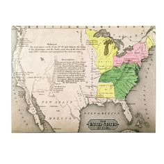 Map of the United States in 1803 Painting Print on Wrapped Canvas