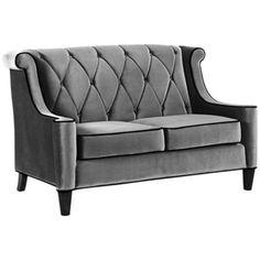 Barrister Gray Velvet Love Seat $999.99  http://www.lampsplus.com/products/Barrister-Gray-Velvet-Love-Seat__T4190.html?cm_mmc=LS-AF-_-DataFeed-_-Seating-_-T4190&lpAffilSiteID=Hy3bqNL2jtQ-TYElDum0WQXDlmy0du8rpg