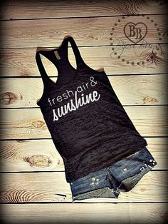 Fresh Air and Sunshine - Love Country -- Racerback, Burnout Tank Top- Sizes S-XL. Other Colors Available