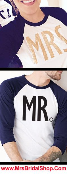 Custom MR & MRS. Baseball Tee Shirts. Customize with Last Name + Date at www.MrsBridalShop.com