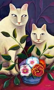 Jerzy Marek Polish) is known for his small scale primitive-naive pieces which show a variety of cats with enigmatic expressions in interiors. Crazy Cat Lady, Crazy Cats, Cat Whisperer, F2 Savannah Cat, Cat Cards, White Cats, Naive Art, Wild Ones, A 17