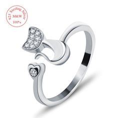 Top Quality 925 Sterling Silver Cubic Zirconia Inlaid Cute Animal Cat Ring for Women/Girls