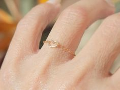 Thin Stack Ring Barely there jewelry Dainty Simple Delicate Gold Ring Tiny 14k Gold filled Chain Jewelry Chain Ring