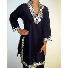 Long Designer Black Tunic Top India Elegance