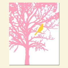 Bird in a Tree - 11 x 14 - Yellow Bird in a Pink Tree Tree -  Yellow, White, PInk - Modern Nursery Decor. $25.00, via Etsy.