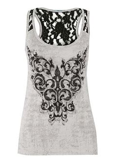 graphic tank with rhinestones and lace (original price, $34) available at #Maurices