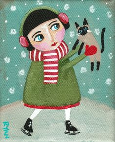The Ice Skater and Her CAT  Original Folk Art Painting by KilkennycatArt