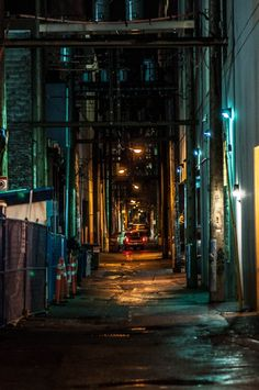 a dark downtown alley, Vancouver, by colink [orange and blue lights; wet, uneven pavement from the rains; (you could add some graffiti on the brick there); one word describes it best: dank] Urban Photography, Street Photography, Landscape Photography, Grunge Photography, Minimalist Photography, Color Photography, Photography Poses, Newborn Photography, Urban Aesthetic