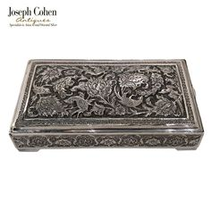 ANTIQUE SILVER PERSIAN-STYLE RECTANGULAR BOX, PARROT & FLORA, EARLY 20TH C. Continental Wallet, Parrot, Persian, Antique Silver, Joseph, Flora, Lion, Antiques, Ideas