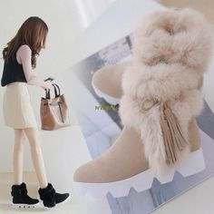 Luxury Womens Rabbit Fur Trim Fluffy Furry Tassel Ankle Boots Suede Snowboots 77