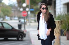 vintage faux fur jacket on the blog...scored for $7!  #fashionblogger #streetstyle #white #black #sunglasses #losangeles #fur #fauxfur #vintage #thriftstore #loafers