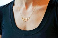 Geometric Linked Hexagon Necklace // Gold Plated by ransomjewelry