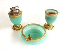 Vintage Cigarette Lighter and Ashtray Set with Cigarette Holder Green Alabaster Made In Italy