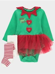 Baby Girl Character Outfits: Christmas Elf Tutu Bodysuit & Tights Set – Novelty-Characters
