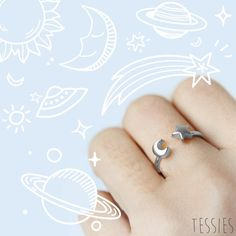 Super spacey galaxy shapes ring! Get it here: http://tessies.myshopify.com/collections/space/products/little-silver-galaxy-shapes-ring …