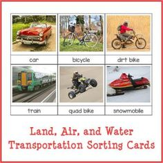 Printable set of Montessori land, air, and water transportation sorting cards. Great for early geography lessons, especially for kids who love vehicles.