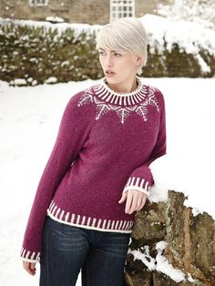 Etherow 0 Knit this womens Fairisle and stocking stitch sweater from Rowan Winterscapes, a design by Sarah Hatton using the beautifully soft Alpaca Merino DK (Baby Alpaca, Superfine Alpaca and Extra Fine Merino). Knitted in the round with fairisle yoke neck and edgings, this knitting pattern is for the more experienced knitter.
